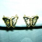 Damasquinado de Toledo butterfly earrings gold floral motif screwback signed vintage jewelry ll2010