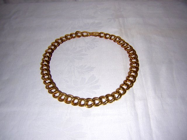 Bold double flat link gold plated necklace classic vintage jewelry ll2006