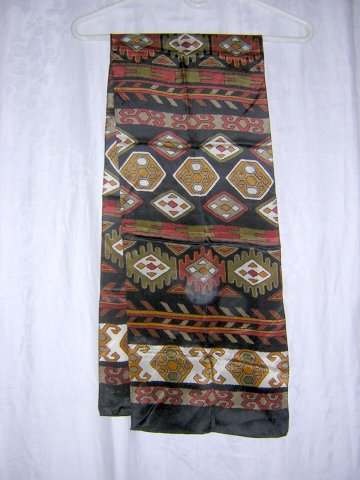 Echo long silk scarf black rust olive Indian motif excellent  ll1036