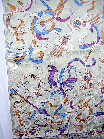 Fantasy creatures jacquard silk coat scarf double thick fringe unused ll1010