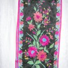 Liz Claiborne long silk scarf floral print on black unused vintage ll1007