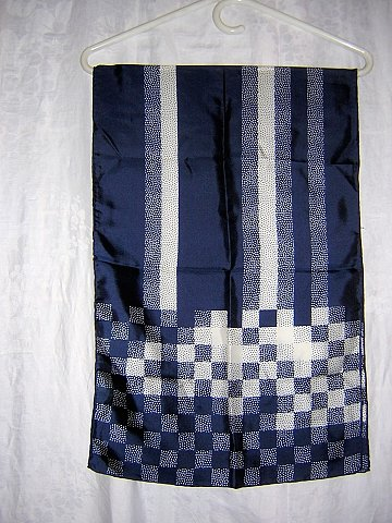 Echo navy and white silk long scarf rolled hem unused vintage ll1006