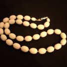Ivory oval plastic bead necklace vintage jewelry  ll1019