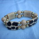 Faux bone stretch bracelet jungle print perfect condition ll1031