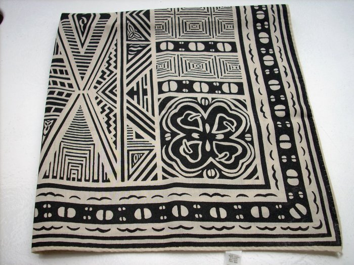 Artistic primitive motif summer scarf bandana kerchief neutral colors ll1049