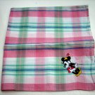 Cotton plaid Minnie Mouse appliqued kerchief bandana scarf vintage ll1050