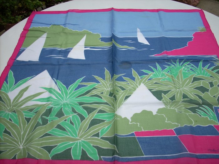 Fisba-Stoffels summer cotton scarf sailboats tropical scene ll1054