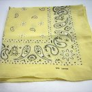 Yellow black paisley cotton bandana scarf kerchief ll1069