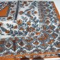 Vintage nylon scarf burnt orange and gray paisley design Glentex ll1076
