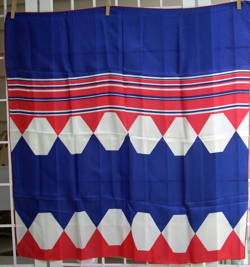 Sally Gee vintage silk rayon scarf unused vintage red white blue ll1082