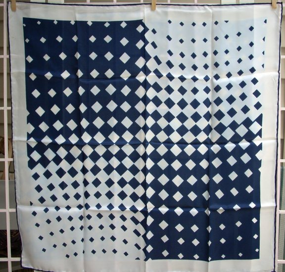 Vintage acetate scarf navy white diamonds rolled hem 1960s ll1093