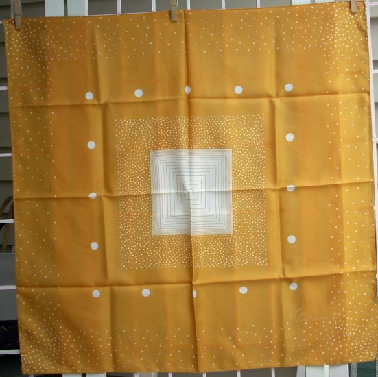 Karin white polka dots on marigold synthetic scarf vintage ll1096
