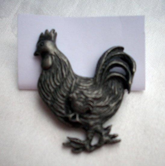 Pewter rooster with tiny chick pin brooch vintage chicken ll1097