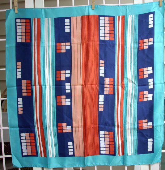 Vintage acetate scarf turquoise navy rust sand white ll1098