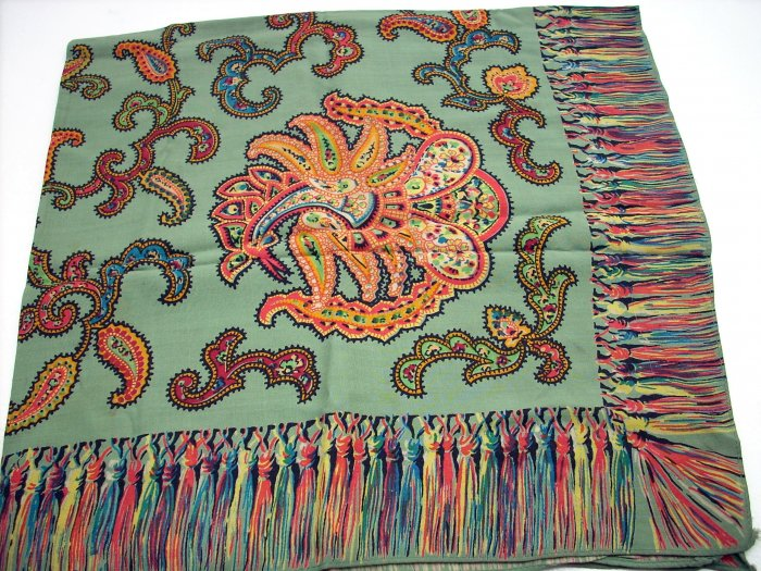 Vintage paisley scarf olive and orange printed fringe ll1100