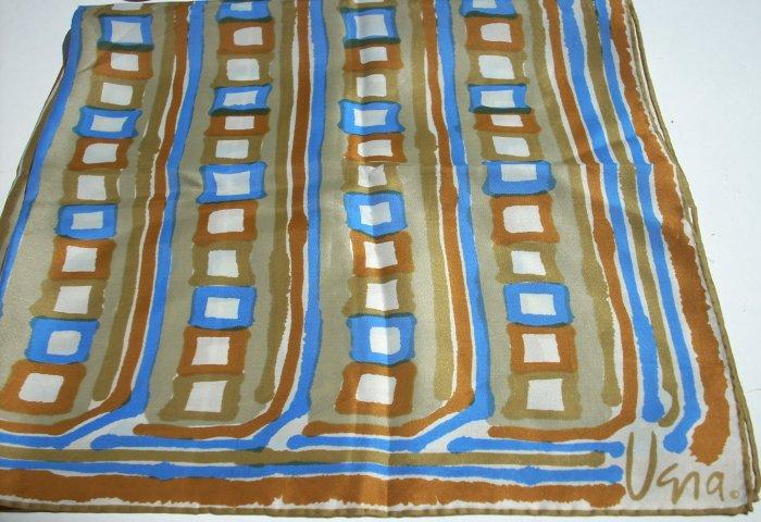 Vintage Vera rayon silk scarf stripes and squares rolled hem ll1102