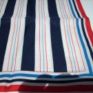 Striped vintage polyester twill scarf red white blue 1960s ll1111