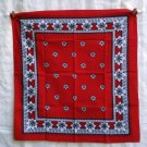 Red white black cotton bandana kerchief scarf unused classy ll1231