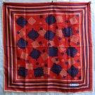 Bayron large all silk scarf red w gold navy rolled hem unused ll1232
