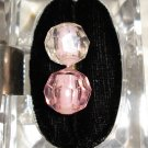 Faceted lucite plastic dangling earrings pink balls Richelieu clip back vintage jewelry ll1248