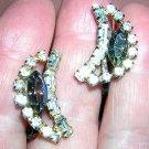 JayFlex Sterling rhinestone aurora borealis earrings screw backs vintage jewelry ll1255