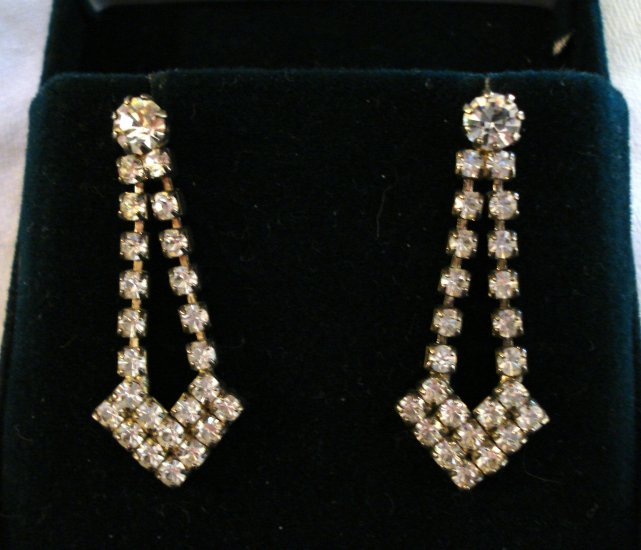 Rhinestone chandelier earrings post butterfly pierced backs vintage jewelry ll1260