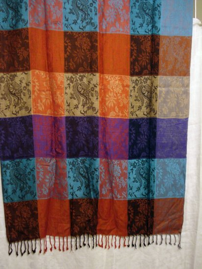 Jewel toned Pashmina stole fringe 100% jacquard rayon made in India ll1276