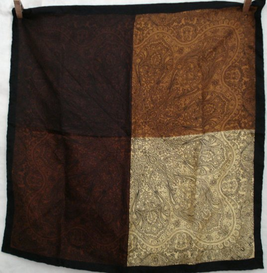 Shades of brown paisley silk scarf rolled hem unisex vintage ll1293
