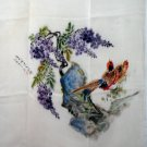 Silk crepe scarf handpainted signed wisteria pheasants large rolled hem mint condition ll1304