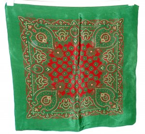 Pine green and burgundy scarf or pocket puff classic design vintage ll1343