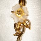 Gold plate dogwood brooch pin frosted glass petals vintage ll1348