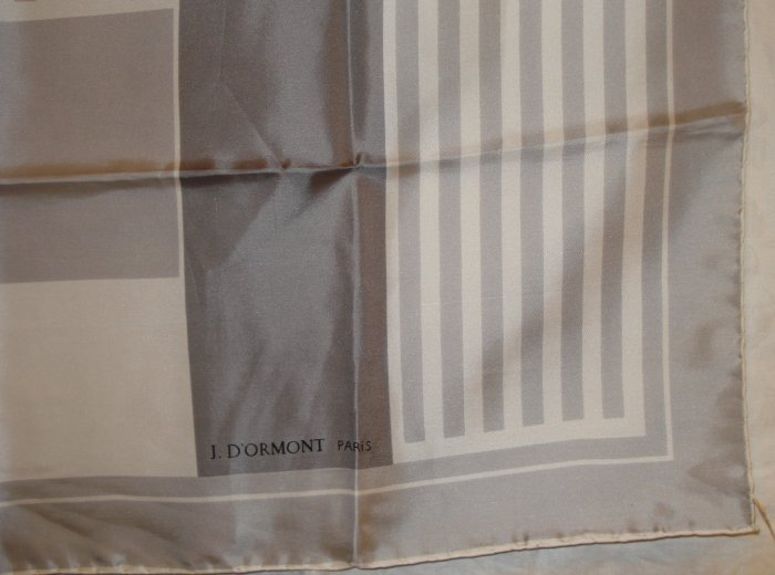 J D'ormont Paris unused vintage silk scarf gray white large sophistication ll1357