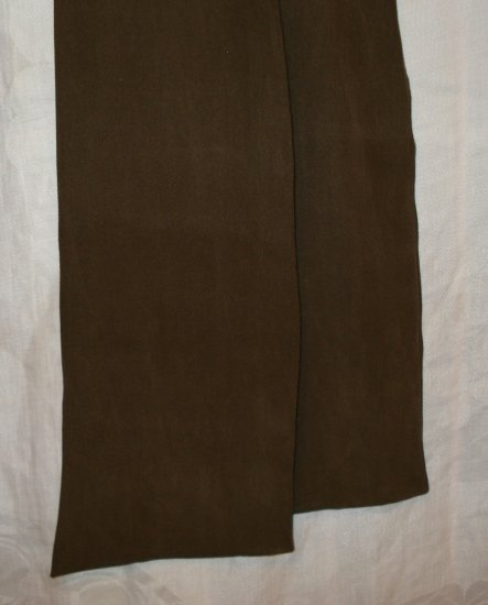 Long silk tie scarf lush fabric dark taupe brown vintage ll1360