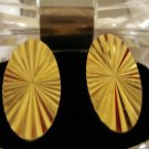 Mid century faceted gold tone oval cufflinks mint vintage jewelry ll1372