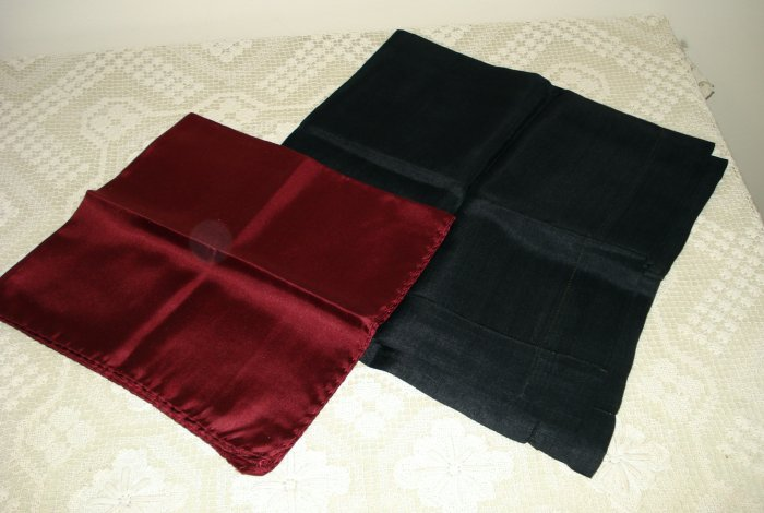 2 Small silk scarves or pocket puffs black and wine ll1380