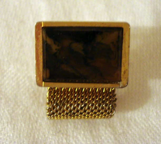 Gold mesh and stone slab men's cufflinks vintage jewelry ll1387