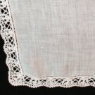 Antique linen wedding hanky hand crocheted lace edge threadwork hem ll1395
