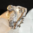 Silver owl on branch pin brooch  lots of detail vintage  ll1391