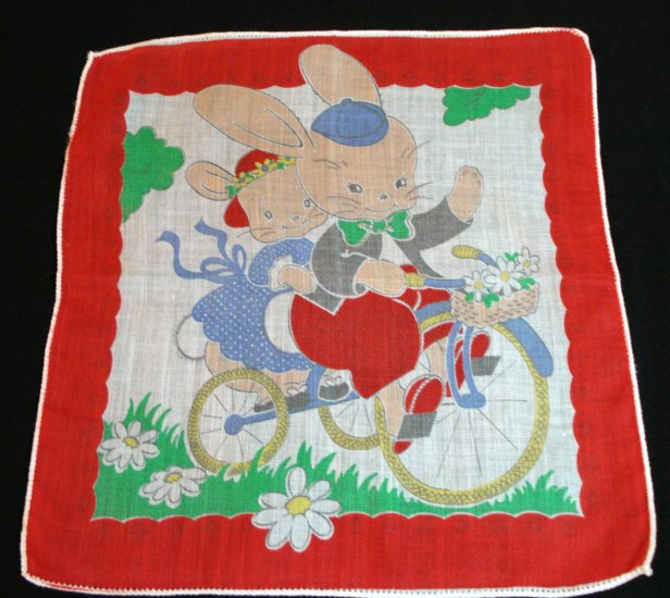 Child's hanky 2 bunnies riding tandem bike red border 1950s vintage ll1413