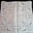 Antique threadwork linen hanky baby blue embroidery ll1338