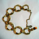 Roget gold plated large link bracelet safety chain mint vintage ll1339