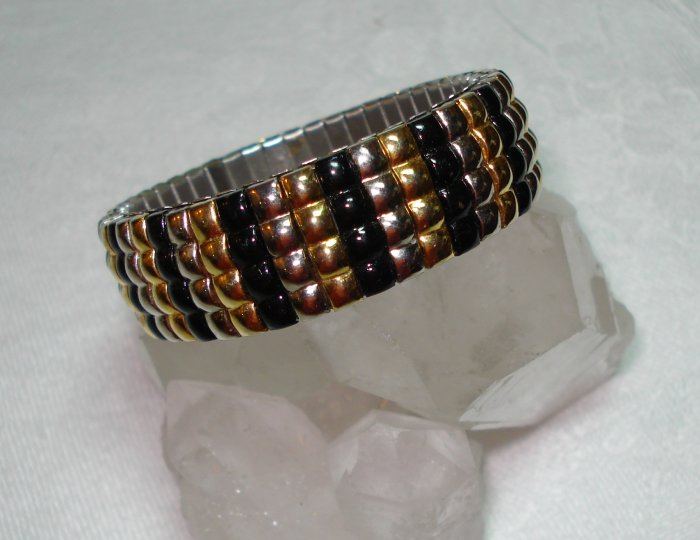Vintage expansion bracelet silver gold black ribs stainless back ll1054