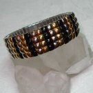 Vintage expansion bracelet silver gold black ribs stainless back ll1054