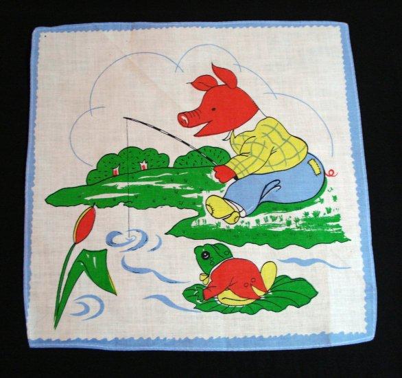 Set of 3 children's printed cotton hankies frameable unused vintage ll1367
