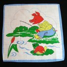 Set of 3 children's printed cotton hankies frameable unused vintage ll1367