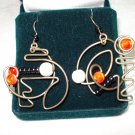 Sterling silver wire and bead mobile pierced earrings vintage artisan jewelry ll1384