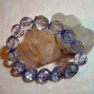 Tanzanite blue faceted lucite plastic bead stretch bracelet ll1403