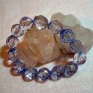 Tanzanite blue faceted lucite plastic bead stretch bracelet ll1403