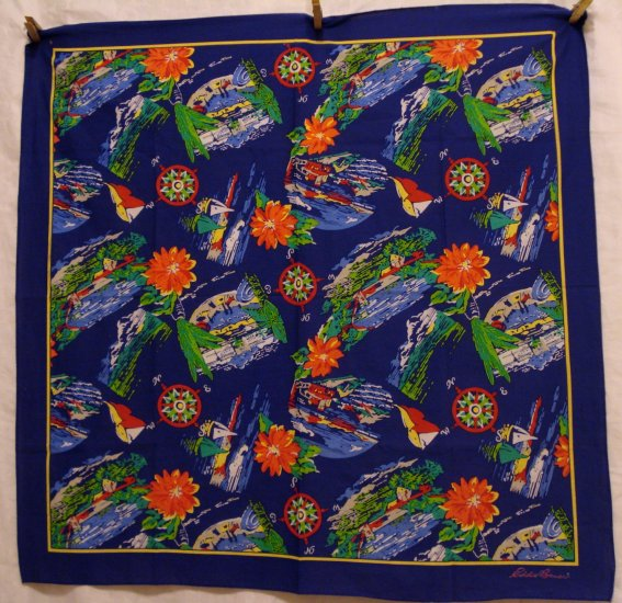 Eddie Bauer casual cotton vintage scarf sea coast theme navy background ll1416