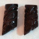 Mahogony carved Bakelite dress clips perfect pair 1930s ll1423
